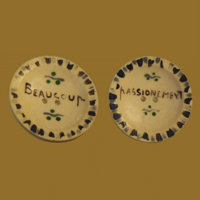 hand painted buttons written in French from 1930's