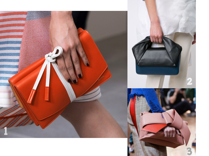 1 Clutch bag PAUL SMITH SS 2016 © Agence Lenam 2 Clutch bag Twist J.W ANDERSON SS 2016 © Farfetch 3 Clutch bag ACNE STUDIOS SS 2016 © Agence Lenam
