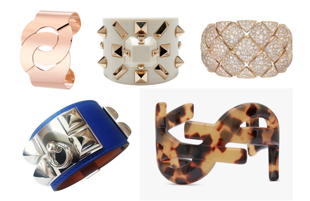 Cuff Dinh Van R40 or rose © Dinh Van Cuff - Collector défilé 2012 - Louis Vuitton © Louis Vuitton Cuff-CHANEL Collection Signature © Chanel Cuff bracelet - Collier de Chien – Hermès © Hermès Cuff MONOGRAMME SAINT LAURENT © YSL