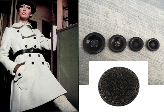 White winter jacket with black buttons: for the seventies look