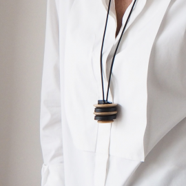 Original Black and Sand button necklace