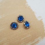 Blue Strass 70's Metal Button 18mm