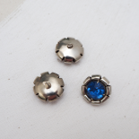 Bouton Bleu Strass Metal Seventies 18mm