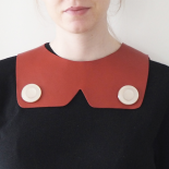 Red Leather Bib Necklace Luna