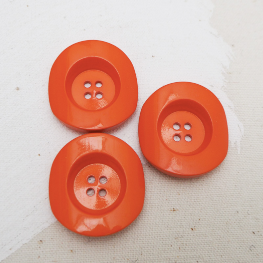 Orange Resin Classica button 34mm - Buttons Paradise