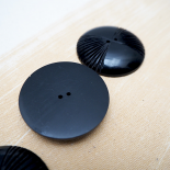 Black molded resin button 40mm Farfalle