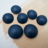Grained Leather Blue Sewing Button 28mm