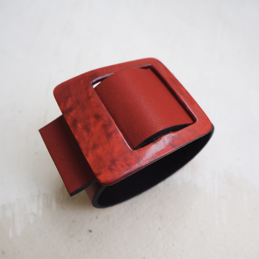 Red Leather Cuff Bracelet Scylla