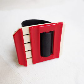 Black and Red Leather Design Bracelet Bolide