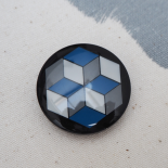 Large Blue Resin Button Geo 33mm