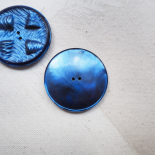 Large Round Resin Button Blue Pansy 35mm