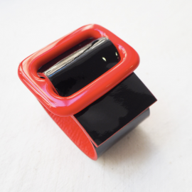 Black and Red Leather Vinyl Bracelet Eden