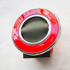 Khaki And Red Leather Cuff Twiggy