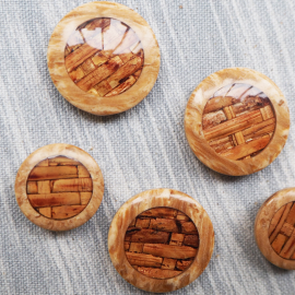 Check pattern wooden resin button 25mm