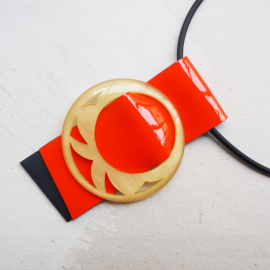 Short Necklace Cravateen Orange Leather Yellow Jade