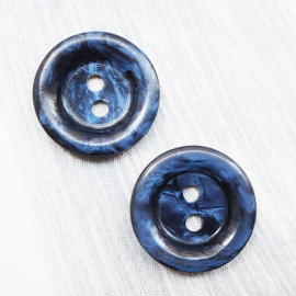 Round Button Marbled Blue Cosmos 35mm