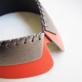 Detachable Leather Collar SAM orange silver