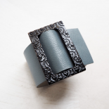 Luxury Leather Cuff Gray Blue Eden T