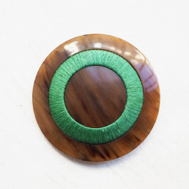 Large Luxury Resin Button beige green silk 54mm