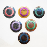 Design Button Brown Resin Blue Denim Silk - 54mm