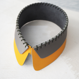 Detachable Leather Collar Yellow Gray SAM