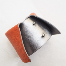 Designer Leather Bracelet Silver Orange Dolce Vita