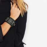 Leather Green Women's Jewel Cuff Bella