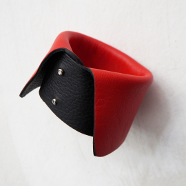 Red Black Design Dolce Vita Leather Bracelet