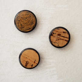 Cork Wood Button 70s style 23mm