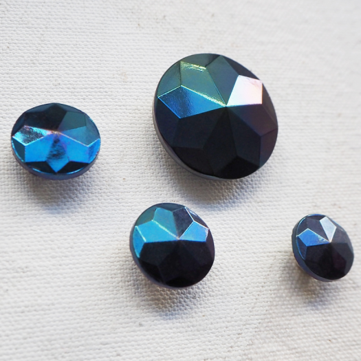 Faceted Button Jewelry Night blue 11-14-22mm
