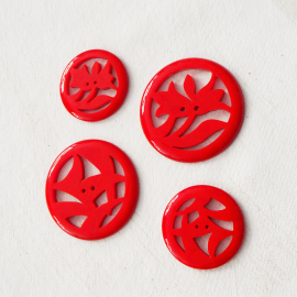 Round Button Red China 38-50mm