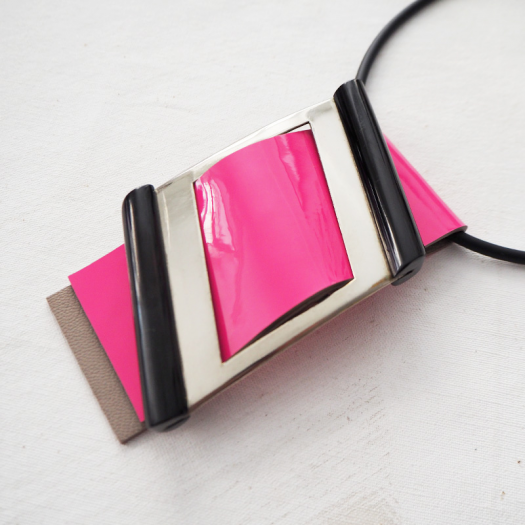 Woman Design Necklace Pink Metal