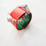 Green Rose Reversible Leather Design Bracelet