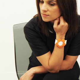 Orange Mandarin Leather Bracelet Eden Maggie