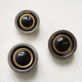 Design Button 80s Circle Black Gold Silver 25-29mm