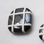 Crossed Square Buttons Set Black White 23-31-36mm
