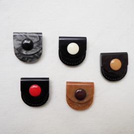 Resin Button Set Black Brown Gray Pocket 24mm