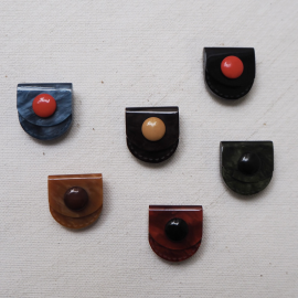 Design Square Button Set two tones Pocket Mini 18mm