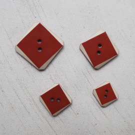 Square Button Set Red White Bevel 15-18-22-27mm