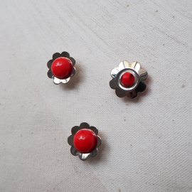 Bouton Pop Fleur Rouge Métal Seventies 18mm
