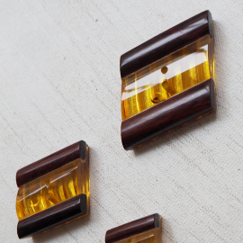 Button Set Design Lucite Yellow Amber 14-21-26mm