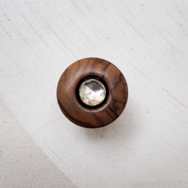 Rhinestones and Wood Design Ring