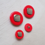 Bouton Rouge Orange Argent 70s Pop 20-31mm