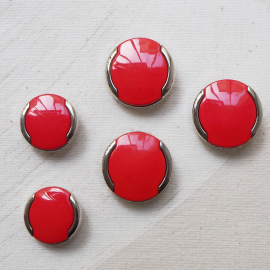 Bouton Seventies Rouge Argent 28mm