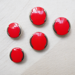 Bouton Seventies Rouge Argent 22-28mm