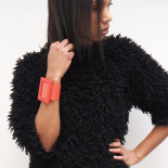 Large Red Leather Bracelet Eden Lola