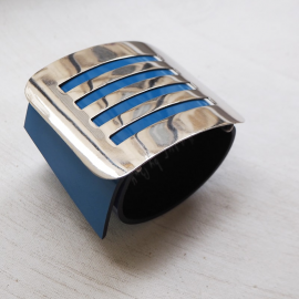Blue Vinyl Leather Design Bracelet Milano