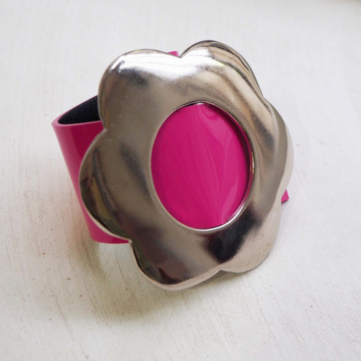 Pink Vinyl Leather Design Bracelet Flora