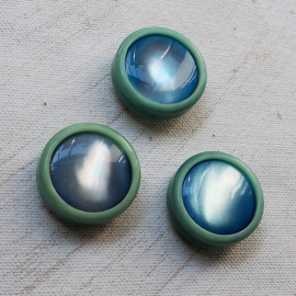 Jewelry Button Blue Green 27mm