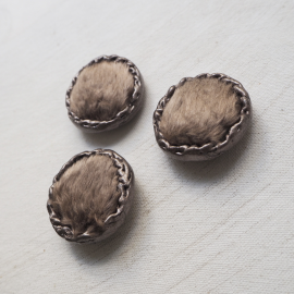 Button Design Coat Brown Taupe 37mm